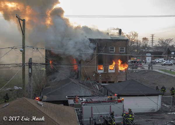 flames from house fire in Chicago