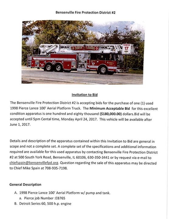 Bensenville FD fire truck for sale