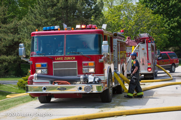 Lake Zurich fire engines at a fire