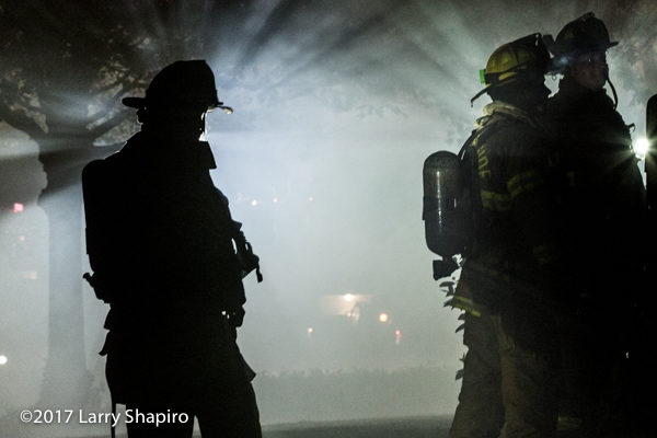 silhouette of Firefighter at scene