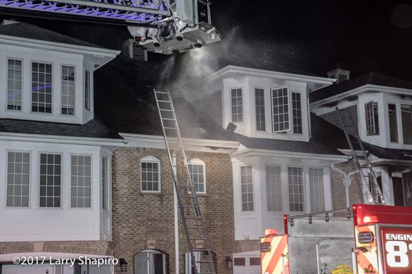 Spartan tower ladder at fire scene