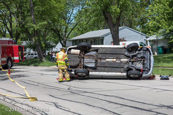 car rolled onto side during crash