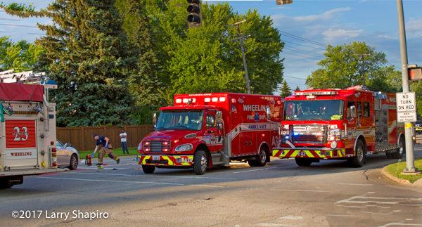 Rosenbauer Commander and Freightliner ambulance at crash