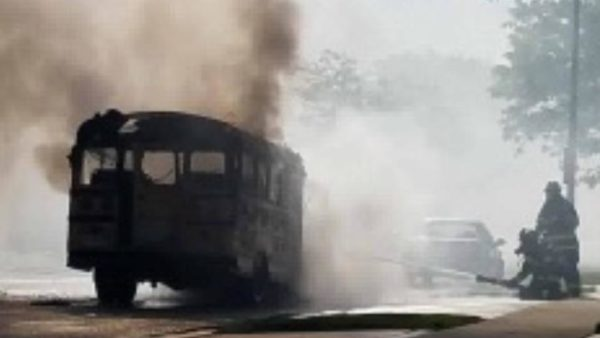 school bus destroyed by fire