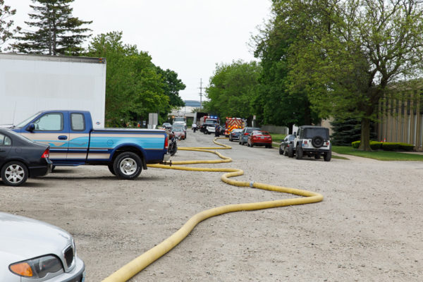 long hose lay at fire scene