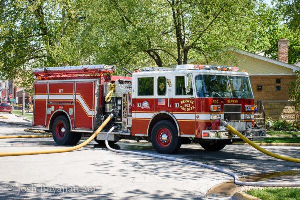 Berwyn fire engine on a hydrant