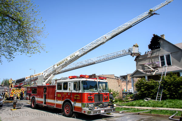 Berwyn FD Seagrave ladder truck at fire scene