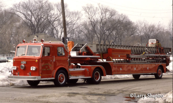 vintage Pirsch tractor-drawn ladder truck in Evanston IL