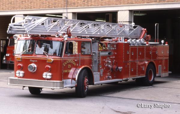 vintage Evanston FD Seagrave ladder truck