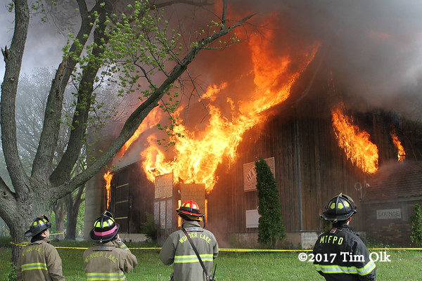 barn engulfed in flames