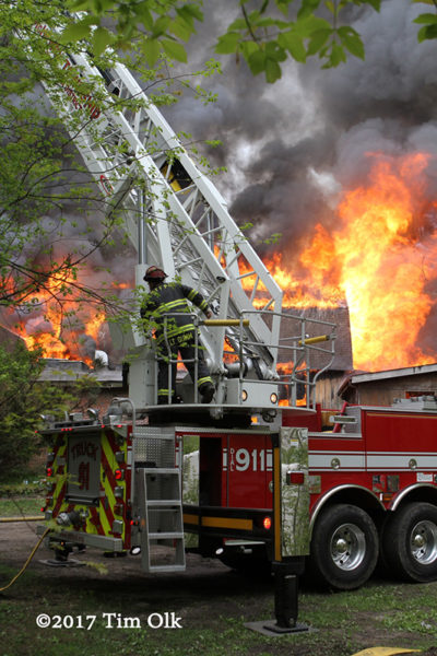 McHenry Township FPD tower ladder at barn fire