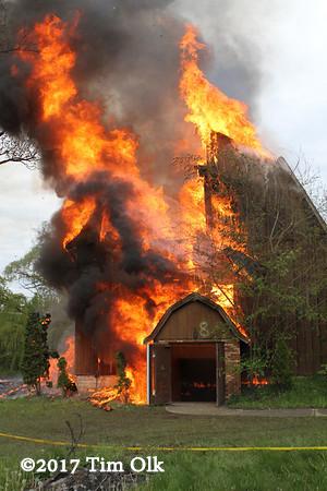 barn engulfed in flames