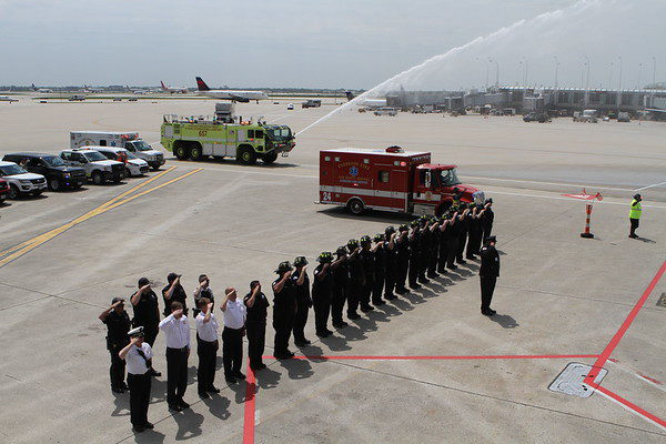 firefighters honor fallen brother arriving by plane