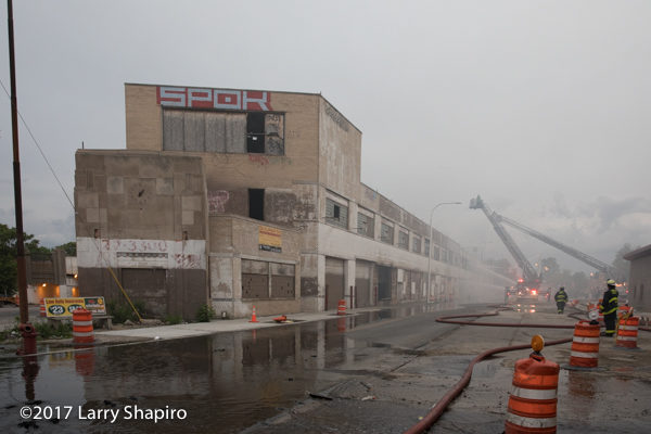 large vacant commercial building fire in Chicago
