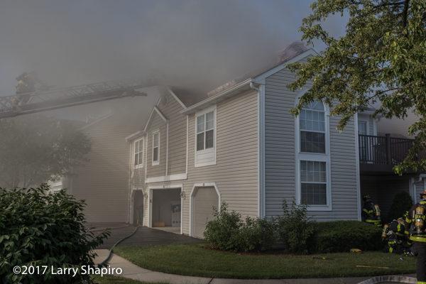 heavy smoke from townhouse fire