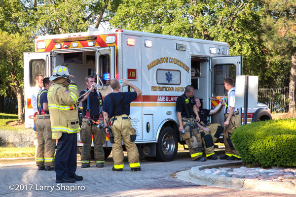 Firefighters rehab at fire scene