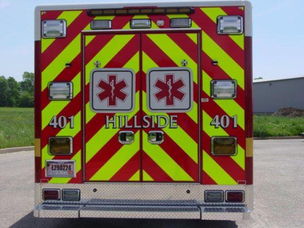 chevron striping om rear of ambulance