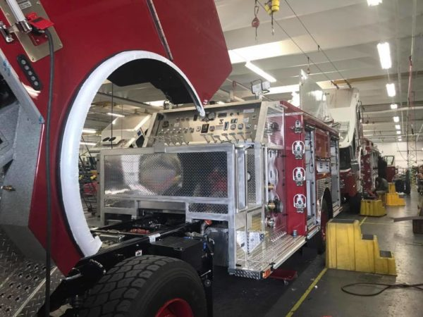 fire truck being built at E-ONE