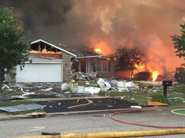 house destroyed by gas explosion