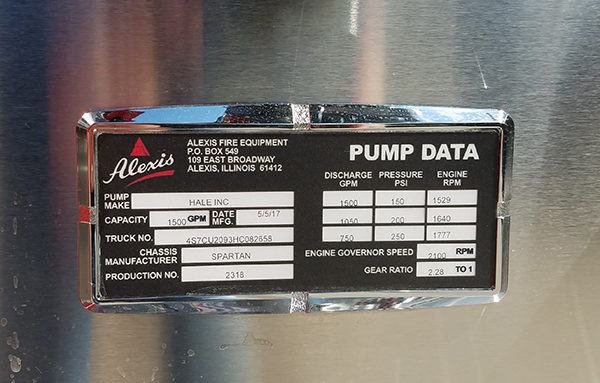 Alexis Fire Equipment fire engine pump data tag