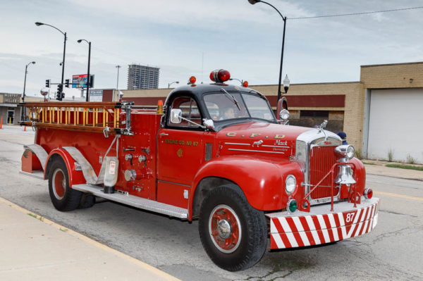 vintage B-Model Mack fire engine