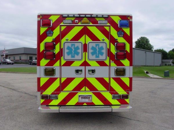 chevron striping on back of an ambulance