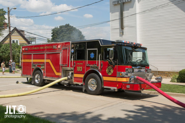 St Charles FD engine at fire scene