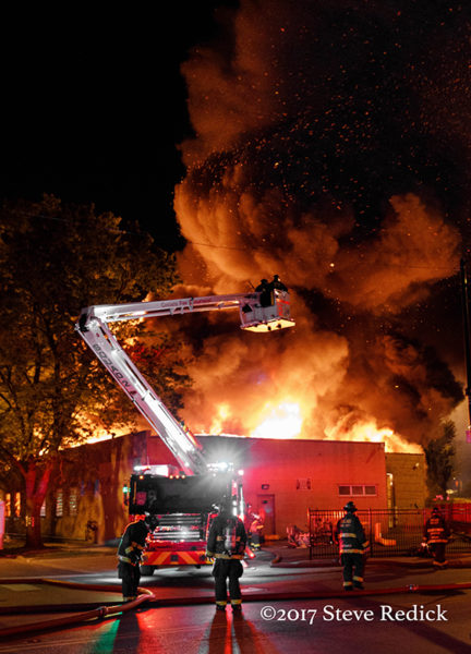 Chicago FD Squad 2A battling a commercial building fire