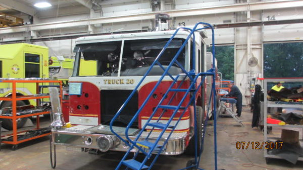 fire truck in body shop at Pierce