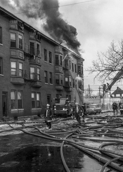 historic Chicago fire scene photo