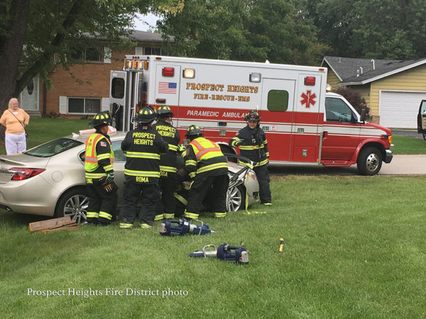 Prospect Heights firefighters free driver from a car