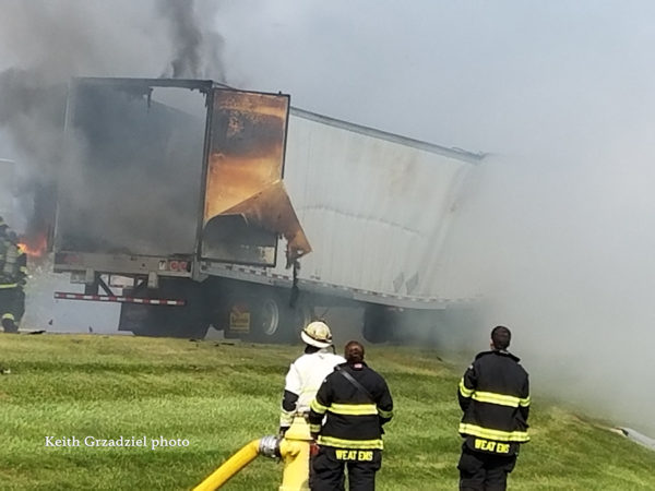 tractor-trailer destroyed by fire
