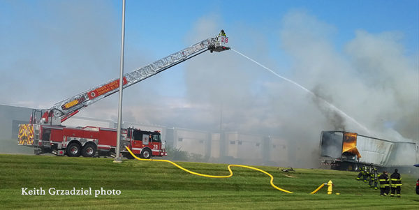 Carol Stream FD Tower 28 at a truck fire