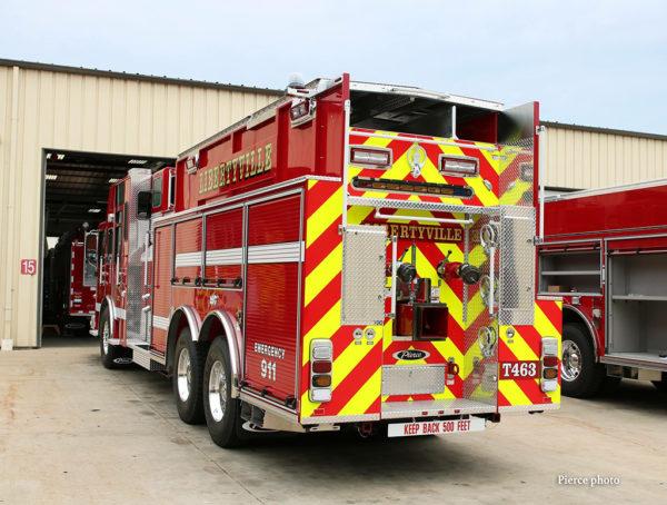 chevron striping on rear of fire truck