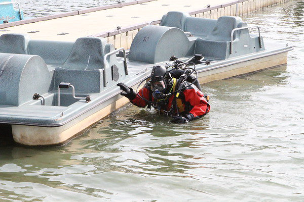 fire department diver at work