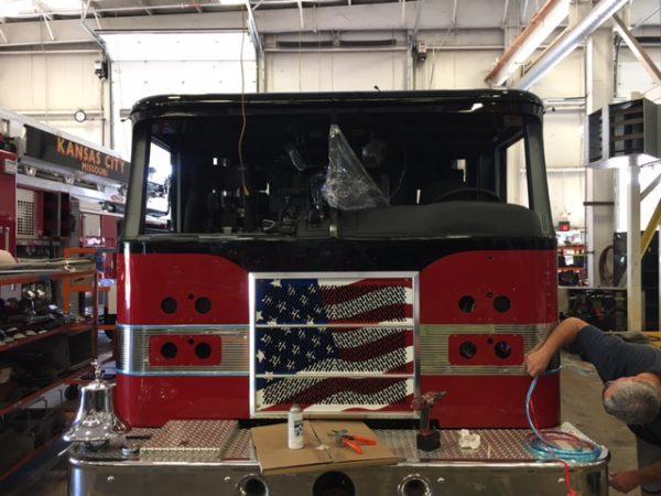 being repairedfire truck b