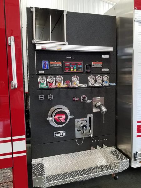 Rosenbauer fire engine pump panel