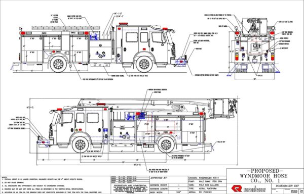 drawing of new fire truck from Rosenbauer America