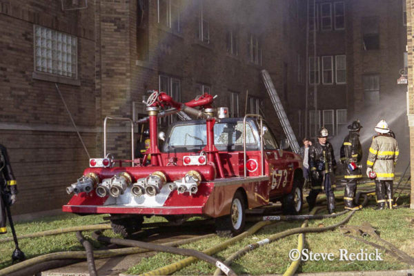Chicago FD turret wagon at a fire