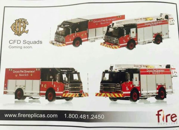 Die cast models of Chicago FD squad companie