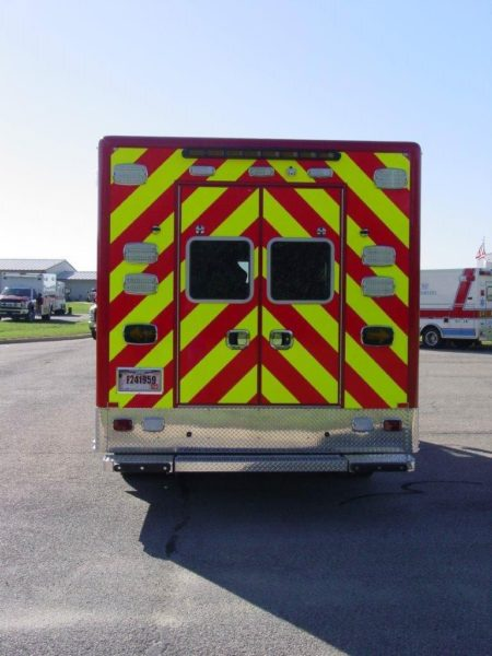chevron striping on rear of new ambulance