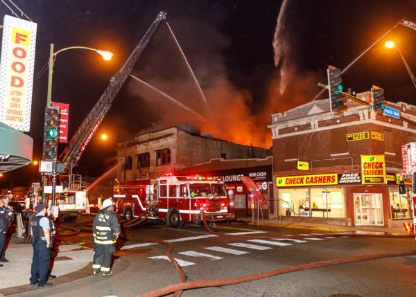 commercial building fire in Cicero