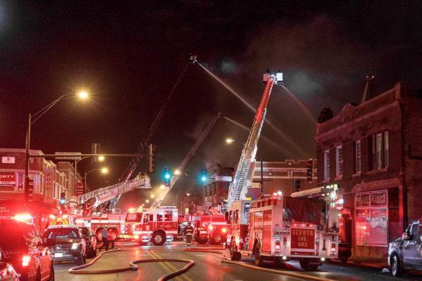 Cicero fire trucks at fire scene