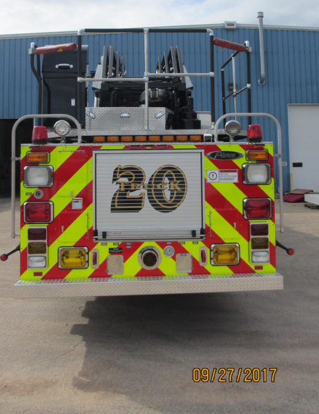 Deerfield Bannockburn FPD Truck 20 after being refurbished by Pierce