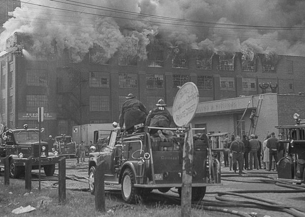 vintage massive fire in Chicago with high pressure wagon