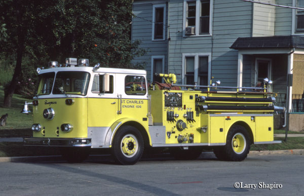 vintage Seagrave P-Series fire engine in St Charles IL