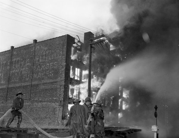 A 5-11 Alarm fire at 29th and LaSalle Streets on 8/26/59