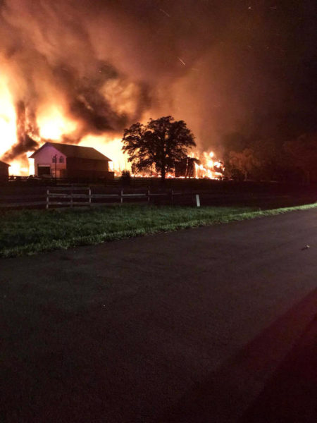 Barn destroyed by fire at night