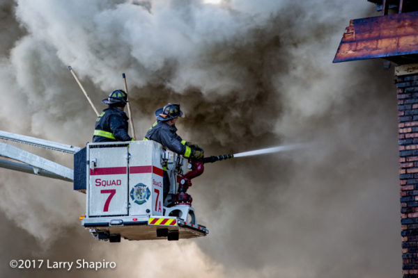 Chicago FD Squad 7A Rosenbauer America Commander ACP-55 Cobra battling a fire