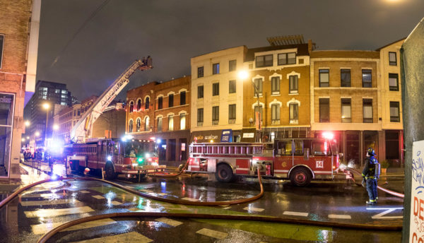Chicago fier trucks at fire scene